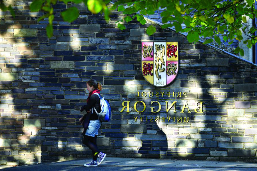 Student walking past the University crest on the wall at main arts